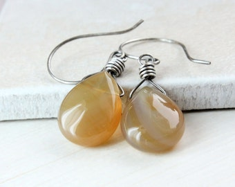 Agate   Earrings       Oxidized Silver Golden  Gemstone Jewelry Brown Stone Earrings Yellow Gem Jewelry  Wire Wrapped Briolette