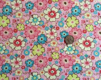 NEW Riley Blake Happy Flappers floral on pink  cotton Lycra  knit fabric 1 yd