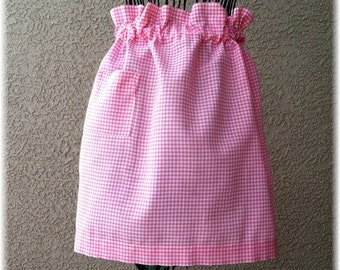 GATHERED PINK GINGHAM Apron