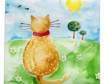 Cat Painting / Original Watercolor Art / Watercolour Children's Art / Nursery Decor