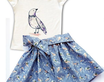 Girls Skirt and Bird Tee Shirt /  Children's Top / Kids Tshirt / Baby Clothes