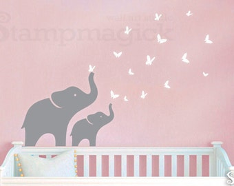 Nursery Elephant Wall Decal with butterflies - Nursery or Children's Room Vinyl Wall Decor Art for Baby Room - K208