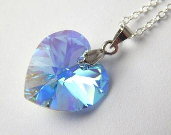 Light Blue Crystal Heart Necklace - Aquamarine Aurora Borealis Pendant - Swarovski Elements - Silver Blue Heart Necklace - March Birthstone