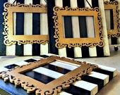 4x6 Photo Frame on Canvas - Black and White Striped - Tim Burton Inspired - Wall Hanging - Frame - Unique - Gifts Under 40