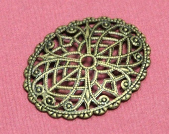 12 pcs of antiqued  brass  filigree oval 29x23mm