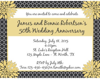 20 - Personalized 50th Anniversary Party Invitations -  Love Blossoms