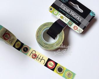 Faith Hope Love Tape • Faith Hope Love Decorative Tape • Faith Hope Love Masking Tape • Positive Inspirations (SC9530)