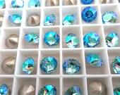 6 Aquamarine AB Swarovski Crystal Chaton  Stone 1088 39ss 8mm