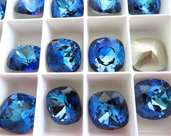 2 Bermuda Blue Foiled Swarovski Crystal Square Cushion Cut Stone 4470 12mm