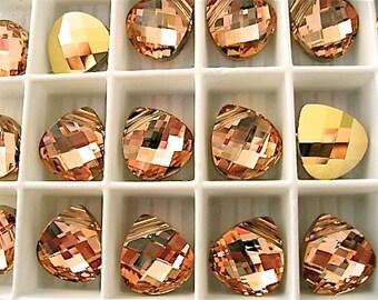 6 Crystal Rosaline Gold Swarovski Pendants Briolette 6012 11mm