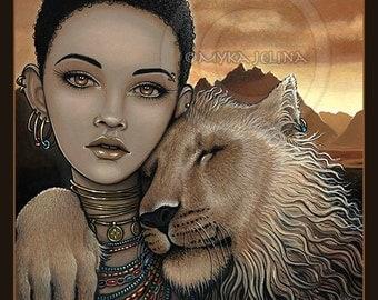 SALE Zariel Akachi Ltd Edition Embellished Canvas Print African Princess Lion Fae