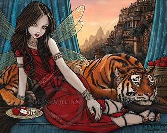 Fairy Queen Tiger Sunset City Tatiana Teagan Limited Edition Canvas ACEO