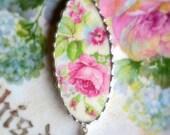 Vintage - Recycled Broken China - Old Rose Garden - Pendant -