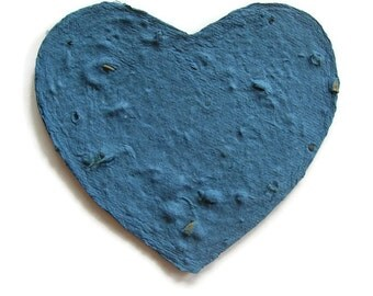 Sympathy card - Blue heart - Plantable paper heart greeting card - Made with wildflower seeds - Funeral, memorial, Pet sympathy card