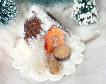 Vintage Putz Style Tiny Miniature Orange Glitter Sugar House with a Bronze Roof and Trees for your Christmas Village Ornament can be Lighted