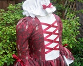 Girls Colonial Gown with  double flounce sleeves.and Cap ,.. (PLEASE read full ad.with lead time)
