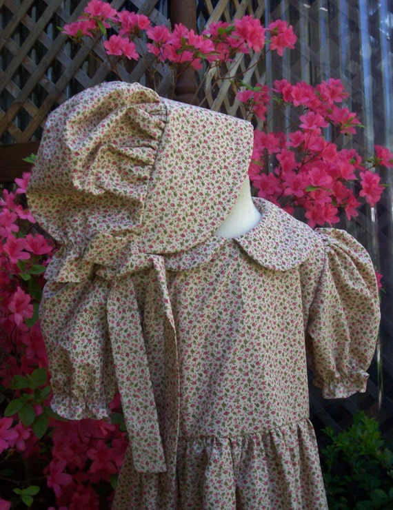 Girls Pioneer Dress & Bonnet in Ivory with tiny by ...