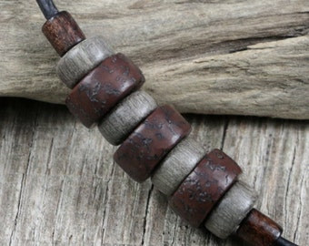 Mens Leather Surfer Necklace - Salwag Seeds, Natrual Wood Beads, Brown Cord