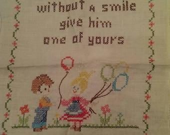 Vintage Cross Stitch Smile Poem on Linen