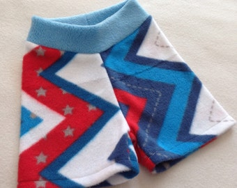 Size Medium Fleece Shorties --- Red white and blue Chevron Anti Pill Diaper Cover