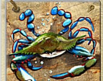3 Tile Wall Decor Original Art Crustacean, Sea Creatures Crab, Shrimp, Crawfish Crayfish