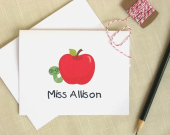 Cute Teacher Note Cards - Apple Note Cards - Set of 8 - Apple and Worm
