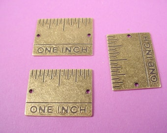 3 brass ox ruler connector charms 2 hole  one inch 25mm