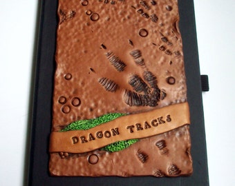 Art Journal Notebook Dragon Tracks/Dinosaur Polymer Clay