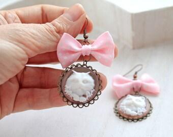 Cat cameo  dangling earrings kawaii lolita pastel pink fairy kei