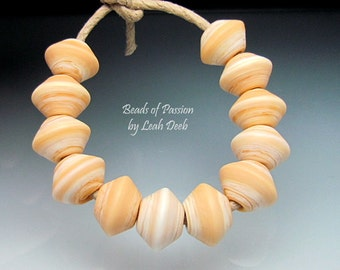 Handmade Glass Beads of Passion Leah Deeb Lampwork - 12 Earthy Ivory Bicones