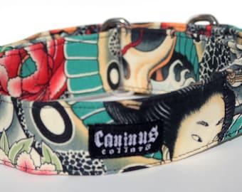 Geisha Dog Collar -  Martingale & Buckle 1.5 - 2 Inch Width - XS - XXL
