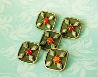 Unusual Buttons Medieval Vintage Artsy Metal Lot of Five 1960s Glass Cabochon