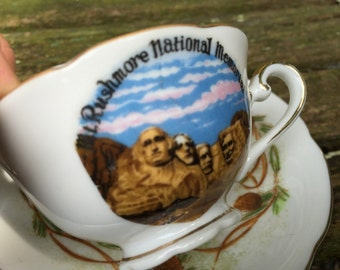 Vintage Souvenir China Cup and Saucer from Mt. Rushmore National Memorial in South Dakota