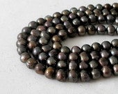 Freshwater Black Pearls- Two Strand Collection- 5mm x 7mm Deep Purple Black Peacock Potato Pearls-  For Jewelry Making