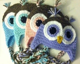 Crochet Owl Hat - Choose Color and Size