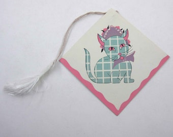 Vintage 1930s Bridge Tally with Plaid Cat in Bonnet