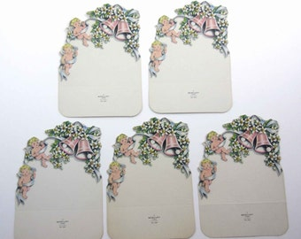 Vintage Wedding or Bridal Place Cards or Enclosure Cards with Angels Cupids Bells and Flowers by Mercury Set of 5
