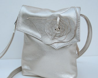 SMALL LEATHER SHOULDER Bag  Platinum Metallic with Flower