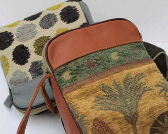SMALL SHOULDER BAG  Fabric and Leather Desert Palms