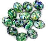 Glass Cabochons Czech 8x6mm Green Opal (2) GC094