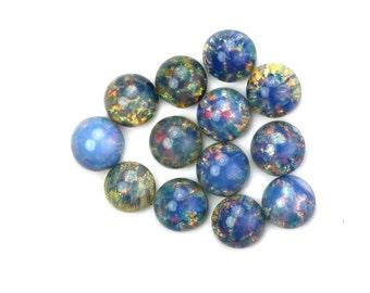 Glass Cabochons Czech 7mm Round Blue Opal (4) GC058