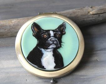 Amazing Boston Terrier Dog , fused glass pocket mirror, brass finish, art,unique gift, custom art