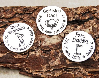 Personalized Sterling Silver Golf Ball Marker, Personalised Gift for Golfer, Father's Day, Silver Golfing Gift, Golf Lover, Gift for Dad