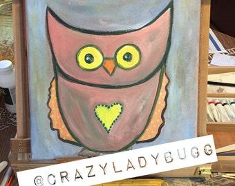 Original Owl Painting- Acrylic on 12x12 canvas