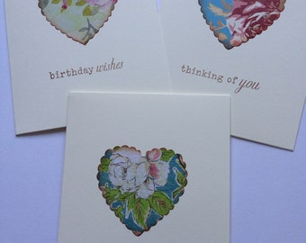 Handmade Greeting Card Set Stamped Floral Heart Cottage Chic