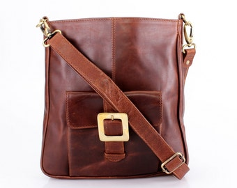 Leather Handbag Pocket Messenger Cross Body Bag, Brown