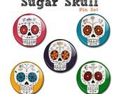 "Sugar Skulls 1"" pin set"