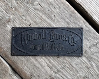 Advertising Plate Kimball Brothers Council Bluffs Iowa Cast Iron Antique