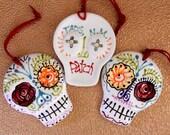Sugar Skull Ornament Ready to Hang