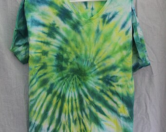 Tie Dye Shirt - Large Adult - V-Neck - Short Sleeve - Dark Blue, Yellow and Green  - 100% Cotton